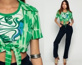 Crop Top PSYCHEDELIC Blouse FISH Print 70s Hippie Boho Shirt Vintage Bohemian Tie Waist 1970s Green Short Sleeve Abstract Small Medium