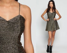 Gold Party Dress Mini 90s Metallic SKATER Cocktail SWEETHEART Neckline 80s Formal Prom Vintage Grunge Sleeveless Hipster Fit Flare Small xs