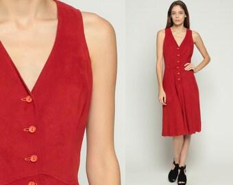 70s Dress VELOUR Dress Midi Mod Button Up Boho High Waisted Rust Red V Neck 1970s Vintage Retro Sleeveless Bohemian Retro Small