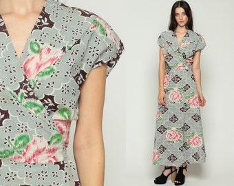 Floral Wrap Dress Boho Maxi 70s Hippie Print 1970s High Waist V Neck Bohemian Vintage Cap Sleeve Grey Pink Retro Medium