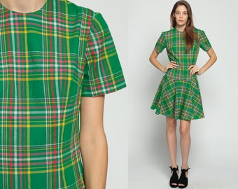 Scooter Dress 1960s Mod Plaid 60s Mini School Girl Drop Waist Preppy Lolita Vintage Short Sleeve Green Minidress Twiggy Yellow Medium