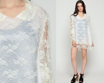 White Lace Top Sheer Blouse Maternity BELL SLEEVE 80s Bohemian Shirt Tunic Top Vintage SCALLOPED Festival Grunge Boho Large