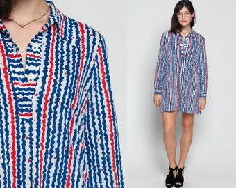 Button Up Dress 70s Shirtdress Mini Striped Print Secretary Mod Polo Long Sleeve Navy Blue Red 1970s Vintage Preppy Shirt Extra Large Xl