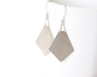 """Modern geometric silver earrings with intricate embossed texture on both sides of the pentagon shape dangle design - """"Artemis Earrings"""""""