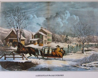 Currier and Ives- American Farm Scenes no. 4, 8.5 x 11 in Reproduction Print, Bookplate, 1978 Unframed Vintage Book Print