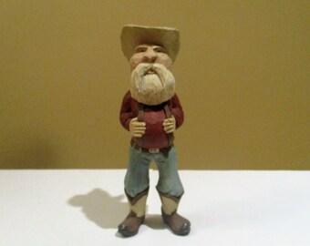 Cowboy Santa Carving Ready to Ship