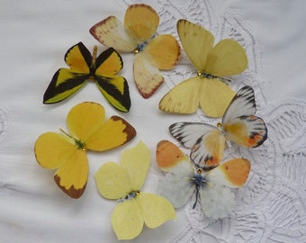Hand cut silk butterfly hair clips with Swarovski Crystal. Wedding, Prom - Set of 7 YELLOWS