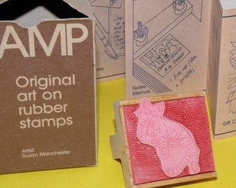 Graphistamp Cat Original Art on Rubber Stamps