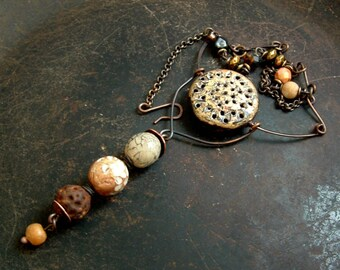 Rustic gold cream and rust mixed media asymmetrical handmade necklace by Vintajia Adornments