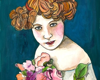 Original watercolor portrait - Ellie with a bouquet of flower and red hair