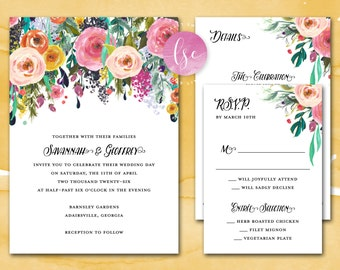 Printable Wedding Invitation Suite, Wedding Invite, Digital Invitation, Summer Wedding, Spring Wedding, Floral Wedding | DIGITAL PRINTABLE