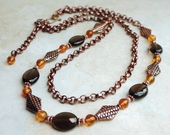 Smoky Quartz Baltic Amber Double Layer Necklace in Copper, Beaded Brown Gemstone Necklace, Handmade Jewelry