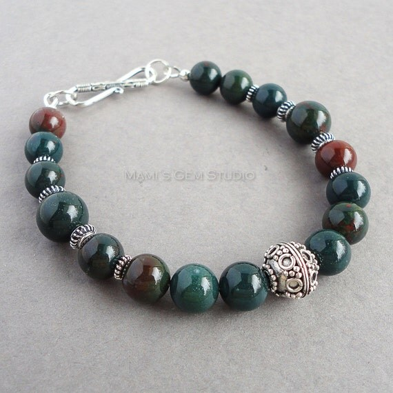 Mens Bloodstone Bracelet with Bali Sterling Silver Green   570 x 570 jpeg 55kB