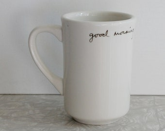 good morning starshine mug, coffee tea mug, song lyric, handwritten cursive script mug, upcycled recycled mug, black and white, stars mug