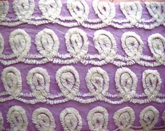Lavender and White Plush Vintage Cotton Chenille Bedspread Fabric 12 x 24 Inches