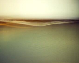 zen horizon, green seasscape, zen photo, minimalist photo, abstract landscape, ready to hang canvas, oversized wall art, gallery wrap canvas