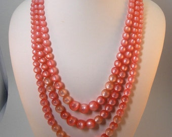 "60s Pink Moonglow 3 rows Lucite Beads Necklace ""Pretty in Pink"""