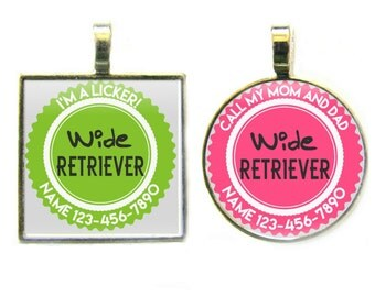 Wide Retriever Personalized Dog ID Pet Tag Custom Pet Tag You Choose Tag Size & Colors, More Colors!