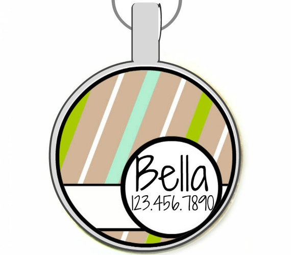 Beige Stripes Silver Custom Personalized Dog ID Pet Tag Custom Pet Tag You Choose Tag Size & Colors