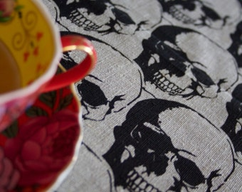 Regency Skull Black on Flax Linen Tea Towel