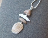 Fractal Shell & ancient sea bed pebbles as pendant necklace -  unique natural jewelry handmade in Australia.