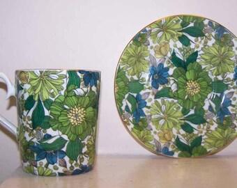 Tea Cup Saucer, Royal Albert, Guinevere Cup Saucer, Green Blue Gold, Floral Pattern, Fine Bone China, Vintage, Floral Print, Petite Flower