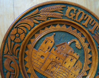 Wood Bread Board, Wooden Plaque, Gott Sibt Brother, God Gives Bread, Hand Carved Wood, Folk Art, Pyrography, German Village