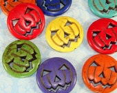 8 PUMPKIN Beads Jack O'Lantern HALLOWEEN 29mm Dyed Howlite Magnesite Assorted Bright Colors Jewelry Supplies Findings Charms Bulk