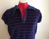 Vintage BLUE and RED Velour Striped Collar Shirt - Size Medium