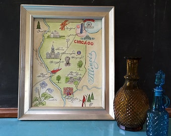 Hand-painted Watercolor Map of Illinois, Digital Prints for framing by Robyn Love