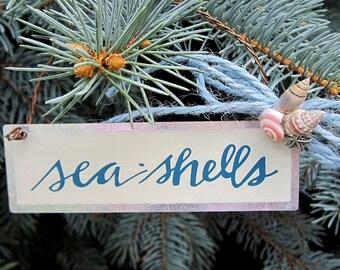 "Beach Nautical Decor ""Sea Shells"" Tin Holiday Ornament"