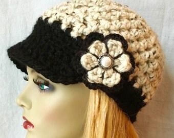 SALE Cold Weather Crochet Womens Hat, Newsboy, Oatmeal, Very Soft Chunky Wool, Flower, Ribbon, Warm, Teens, Winter, Ski Hat, JE808N8