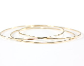 skinny gold bangle set | gold three bangle set | hammered gold bangles | everyday bracelets