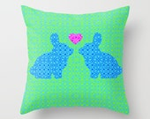 Romantic Blue and Pink Bunny Rabbit Love Heart Throw Pillow Cover Case Bedroom Decor Valentine Gift Couple Couch Living Room Home Decor