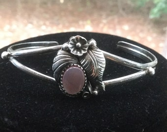 Vintage J Navajo Sterling Silver MOP Floral Foliate Cuff Bracelet