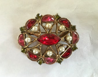 Vintage Red & Green Rhinestone Pearl Pin 1960s