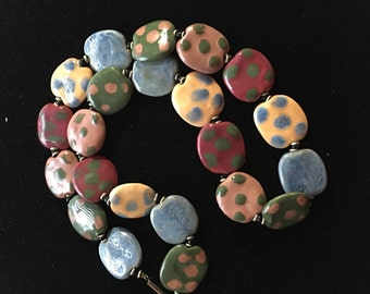 Vintage Colorful Ceramic Flat Bead Necklace