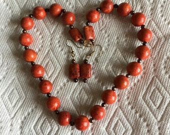 Vintage Autumn Coral Ceramic Bead Necklace & Earrings
