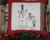 Let It Snow Christmas Snowman Pillow