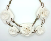 Handmade Polymer Clay Chunky Flower Necklace in White