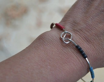 Sterling Silver Hammered Wire Bracelet with Recycled Telephone Wire