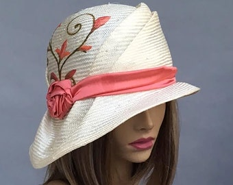 """Sophia, """"Painted Ladies"""" collection,  hand painted parasisal straw hat, womens summer millinery hat, color natural straw"""