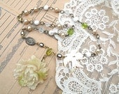 SOLD....bird spring peony necklace assemblage classic blossom upcycled vintage jewelry cottage chic