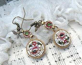 micro mosaic earring assemblage spring dangle upcycled vintage jewelry bee fairy garden