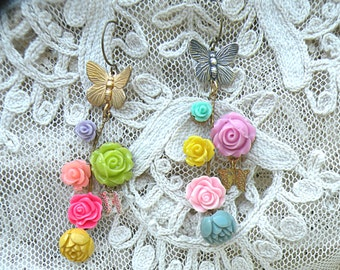 fantasy roses earrings assemblage butterfly cottage chic flower pastel fairy garden pixie romantic gypsy