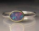 Boulder Opal Ring, 18k Yellow Gold and Sterling Silver Australian Opal Ring, Opal Ring - Made to Order