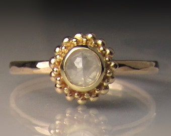 Granulated Rose Cut Diamond Engagement Ring in 14k Yellow Gold