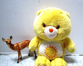 Vintage Care Bear, Funshine Sunshine Yellow Teddy Bedtime Buddy Yellow Fur, Heart Button on Butt, Child's Security Toy Cartoon Character