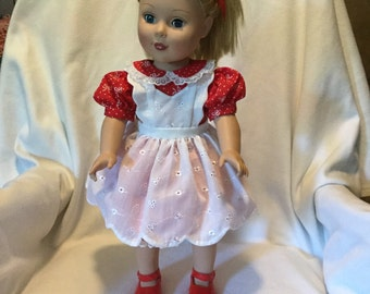 Sweet red dress with white pinafore for 18 inch doll