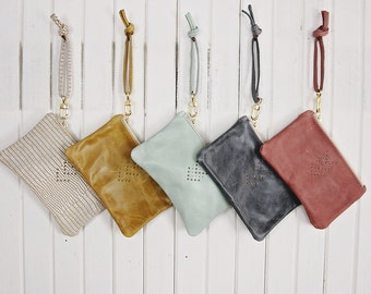 Bridesmaid Bag and Bridal Gift Set Small Leather Wristlet Chevron Micro Rivet Detail Brass Zipper Closure Available in 40 Colors